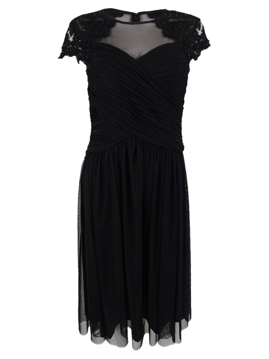 Alex Evenings Womens Petites Beaded Embroidered Party Dress Black 10P
