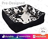 Faux Cowhide Black Dog Bed Cat Bed Personalized | Washable, Personalized Name Embroidery