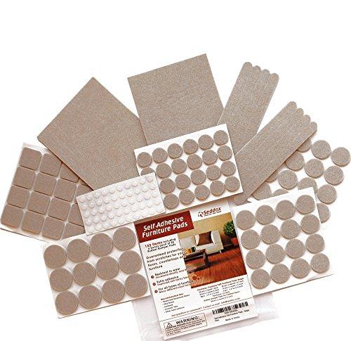 seddox-premium-felt-furniture-pads-large-set-152-pieces-with-bonus-rubber-bumper-pads-extra-adhesive