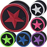4mm to 26mm ear plugs silicone star flesh tunnels double flare expander stretcher taper MoDTanOiz