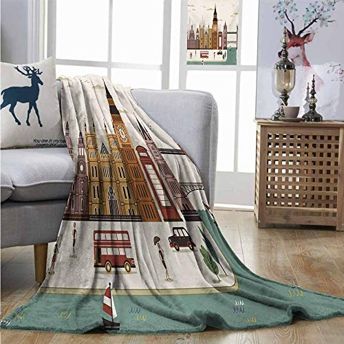 Homrkey Digital Printing Blanket London Attractive Travel Scenery Famous City England Big Ben Telephone Booth Westminster Blanket for Sofa Couch Bed W60 xL91 Multicolor ()