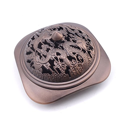 TRENDBOX Carved Phoenix Dragon - Vintage Design Bronze Incense Cone Furnace Sandalwood Coil Burner Plate Holder Ash Catcher Chinese Traditional Style Buddhist Washable