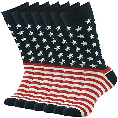 American Flag Socks, SUTTOS Men's Colorful Patriot Dress Socks Casual Black Red White Striped Stars Flag Socks Crazy Wonder Funky Socks,Cotton Crew Dress Socks For Wedding Groomsmen,7 Pairs by SUTTOS