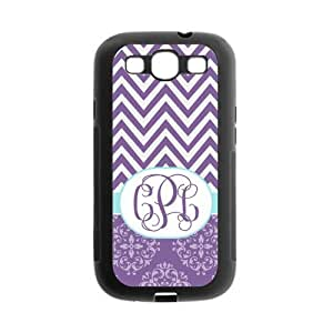 Purple Chevron Zigzag & Vintage European Pattern Damask Print Style Monogram Personalized Custom Best Rubber & Plastic Case for Samsung Galaxy s3 i9300 ,Black or White for Choice