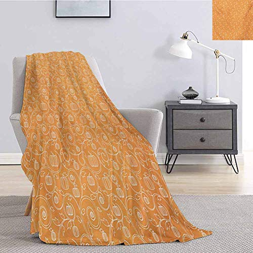 Harvest Faux Fur Blanket Warm Cozy Pattern with Pumpkin Leaves and Swirls on Orange Backdrop Halloween Inspired Soft Fuzzy Blanket for Couch Bed W57 x L74 Inch Orange White
