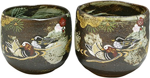 Kiyomizu Yaki Kissho Oshidori 3.3inch Set of 2 Japanese Teacups Grey Ceramic by Watou.asia