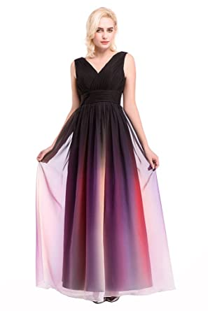 Drasawee Womens Long Chiffon Gradient Evening Dresses Prom Party Formal Gowns Multi5# Customize15#