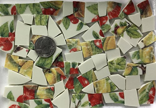 Mosaic Art & Craft Supply ~ Vintage Tiles with Red & Yellow Fruit and Leaves (T#409)