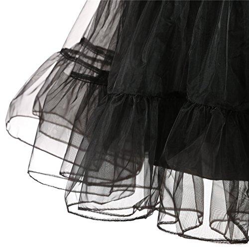 ZAFUL pour 110cm Rtro 3XLJupe 66cm Vintage Anne 50 Jupon Style de M Rockabilly Noir Femme Elastique Jupon Taille Uwqx7HrU