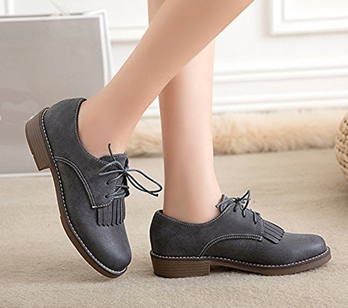 Aisun Womens Trendy Round Toe Lace Up Go Easy Wear To Work Low Heels Oxfords Shoes Gray kWnTX1