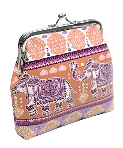 Women's Retro Elephant Pattern Buckle Coin Purse Kiss Lock - Purse Lock Coin