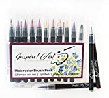 Inspire! Art Watercolor Brush Pens | 22 Brush Pens | Lightfast | Professional Quality Precision Tips for Painting, Sketchbooks, Color Books, Calligraphy | Non-Toxic | Free E-Colorbook | InspireArt
