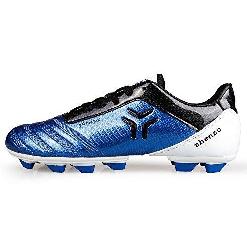 Xing Lin Chaussures De Football Chaussures Homme Jeux Adultes Gazon Artificiel De Fg/Ag Spike Des Adolescentes De LEnfant Étudiant Chaussures De Football Broken Nails, 38, Bleu