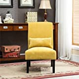 Contemporary Style Fabric Armless Solid Print Upholstered Accent Chair with Kidney Pillow (Yellow)