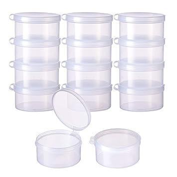 BENECREAT 12 Pack Cajas Redondas de Plástico Transparente Almacenamiento con Tapa Abatible para Artículos, Pastillas, Hierbas, Cuentas Pequeñas, ...