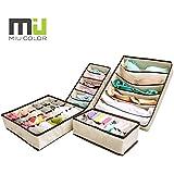 MIU COLOR Collapsible Storage Boxes Bra Underwear Closet Organizer Drawer Divider 4 Set, Color: Beige