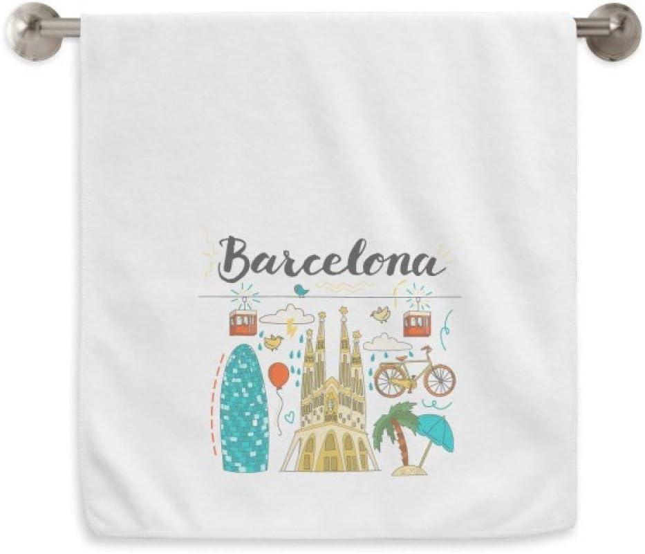 DIYthinker Barcelona, Sagrada Familia Española Circlet Blanca Toallas Toalla Suave paño de 13X29 Pulgadas 13 x 29 Pulgadas Blanco: Amazon.es: Hogar