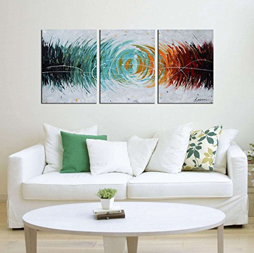 Artland Modern 100% Hand Painted Abstract Oil Painting on Canvas Colorful Space 3-Piece Gallery-Wrapped Framed Wall Art Ready to Hang for Living Room for Wall Decor Home Decoration 24x48inches