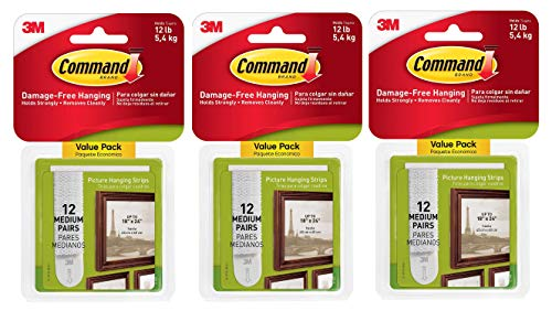 Command Picture Hanging Strips Medium White 12 Pairs Per Pack Sold As 3 Pack 36 Pairs Total 17204 12es