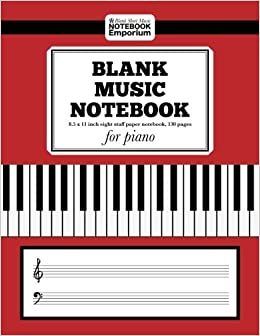 Blank Sheet Music Notebook for Piano: 8.5 x 11 inch eight staff paper notebook, 130 pages (Music Manuscript Notebook Series)