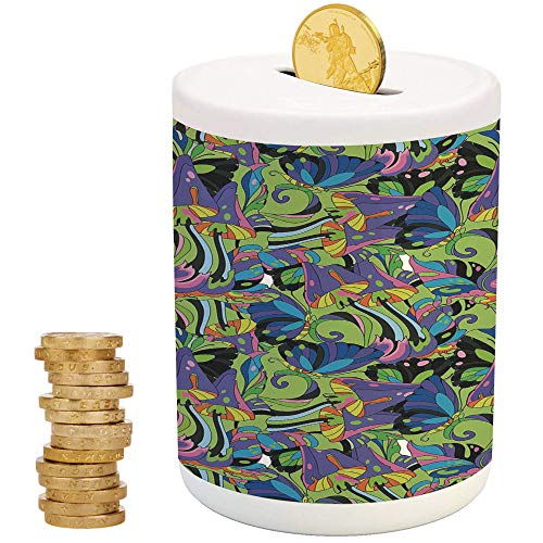 iPrint Mushroom,Money Bank for Kids,for Party Decor Girls Kid's Children Adults Birthday Gifts,Groovy Trippy Mixed Colors Toadstool Fungus Plants Natural Swirls Butterflies -