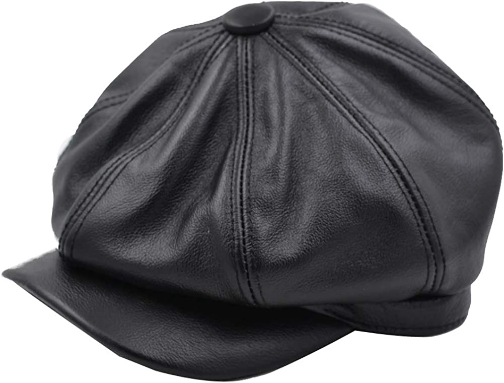 Yosang Fashion Mens Leather Classic 8 Panel Gatsby Newsboy IVY Hat