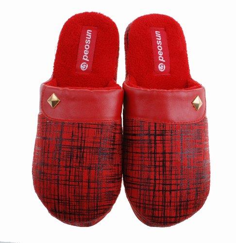 Colorfulworldstore Autumn&winter Men&women's Warm home indoor cotton slippers-Suede Bronzing Fight skin boots Women-Red ZxgEnjPMP