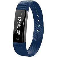 FuSon Reloj Fitness Tracker, Reloj Inteligente/Contador de Pasos/Monitor de sueño/Pulsera GPS conectada para Android y iOS Smartphone (Azul)