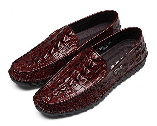 Männer Slip-On Oxford Neue High-End Erbsen Schuhe Crocodile Pattern High-Grade erste Schicht aus Leder Breathable Schuhe , red , 39