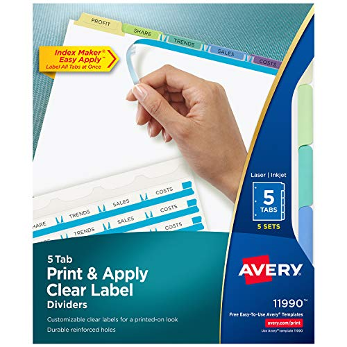 Avery 5-Tab Dividers, Easy Print & Apply Clear Label Strip, Index Maker, Pastel Tabs, 5 Sets (11990)