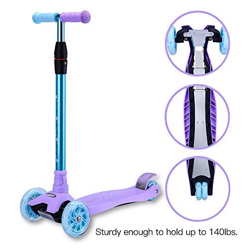 Wheels Extra Wide (WonderView Kick Scooter Kids 3 Wheel Scooter,4 Height Adjustable PU Wheels Extra Wide Deck Best Gifts Kids, Boys Girls)