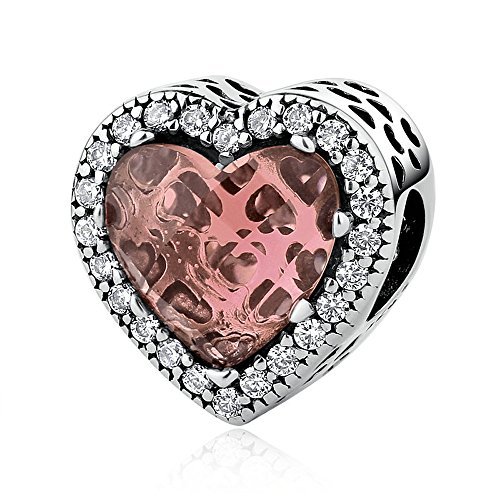 The Kiss Radiant Hearts Brown Crystal Clear CZ 925 Sterling Silver Bead Fits European Charm ()