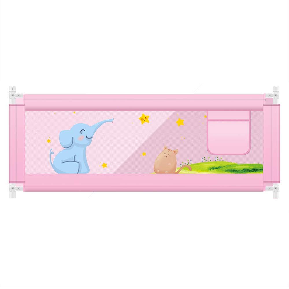 LHA ベッドガードフェンス 幼児チャイルドベッドガードレールベビーベッドサイドフェンス耐衝撃性バッフルユニバーサル垂直リフティング-150cm、180cm、200cm (色 : Pink, サイズ さいず : L-150cm) L-150cm Pink B07KZRDG61