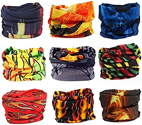 Womens Hairband Sports Magic Scarf KINGREE 9PCS Headbands Outdoor Multifunctional Headwear Mens Sweatband Athletic Headwrap High Elastic Headband with UV Resistance