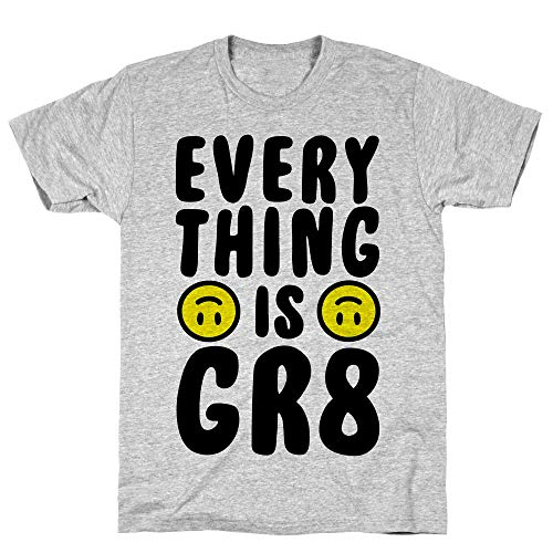LookHUMAN Everything is GR8 Small Athletic Gray Men's Cotton Tee -