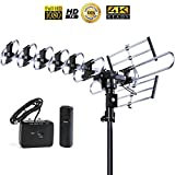 FiveStar Outdoor 4K HDTV Antenna Long Range Auto Gain Control Long Range with Motorized 360 Degree Rotation, UHF/VHF/FM Radio with Infrared Remote Control for 2 TVs