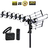 Five Star Outdoor 4K HDTV Antenna Long Range Auto Gain Control Long Range with Motorized 360 Degree Rotation, UHF/VHF/FM Radio with Infrared Remote Control Advanced Design