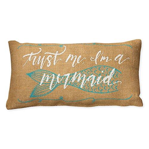 Small Burlap Nautical Mermaid Pillow