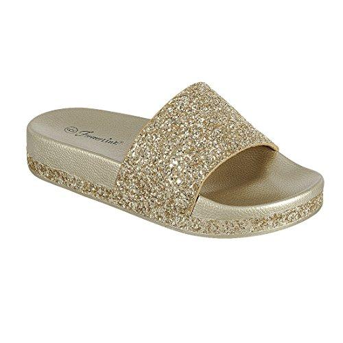 Per Sempre Fq58 Donna Glitter Banda Larga Slip On Sandali Oro