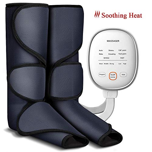 Leg Massager Air Compression Foot and Calf Massage with Heat for Circulation Compression and Relaxation, 6 Modes 3 Intensities and 2 Temperatures (Compression Messagers)