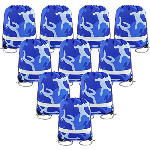 Camo Party Supplies Favors Goodie Bags for Teens Kids Birthday, 10 Pack Camoflauge Drawstring Backpack Bags (Blue Camo) -