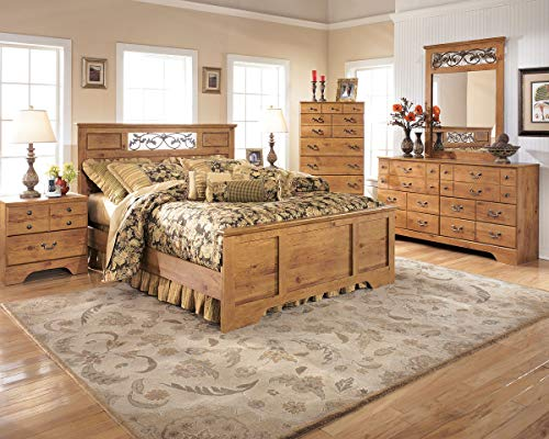 Ashley Bittersweet Wood Queen Poster Panel Bed in Light Brown Bronze Poster Panel Bed