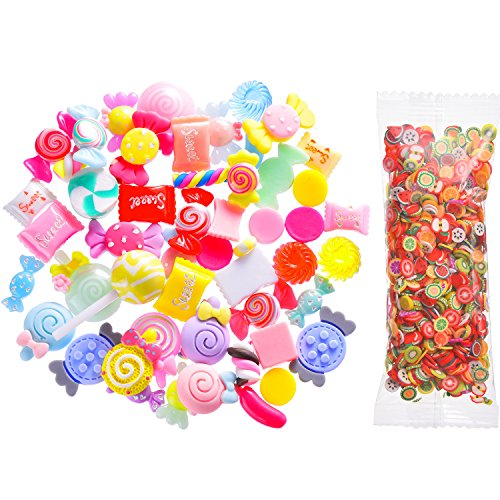 - TOODOO 30 Pieces Slime Charms Mixed Candy Sweets Slime Beads with 1000 Pieces Fruit Slices for Slime and Art Projects
