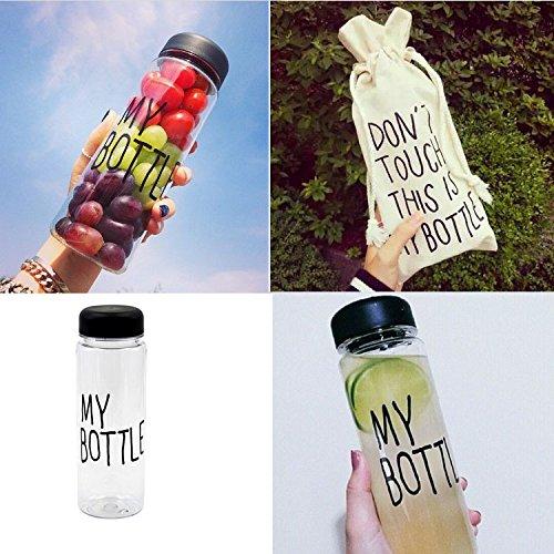 Portable Clear My Bottle Sport Plastic Fruit Juice Water Cup 500ML & Canvas Bag