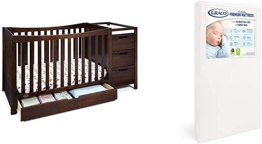 Graco Remi 4-in-1 Convertible Crib and Changer, Espresso, Easily Converts to Toddler Bed Day Bed or Full Bed & Premium Foam Crib and Toddler Mattress in a Box GREENGUARD Gold Certified