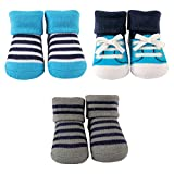 Luvable Friends 3-Pack Little Shoe Socks Gift Set, 3 Pieces, Blue Stripes
