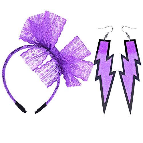 LEKUSHA Women's 80s Costume Accessories Neon Lace Headband Hair Band with Neon Lightning Earrings - Purple