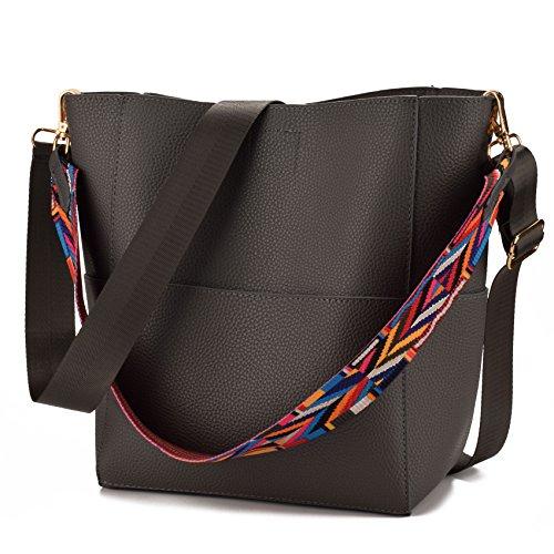 JIARUO Designer Bucket bag Women Leather Wide Strap Shoulder bag Handbag (deep grey) ()