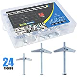#2: Glarks 24Pcs 1/8'', 3/16'', 1/4'' inch Zinc Plated Steel Round Head Toggle Bolt and Wing Nut Assortment Kit