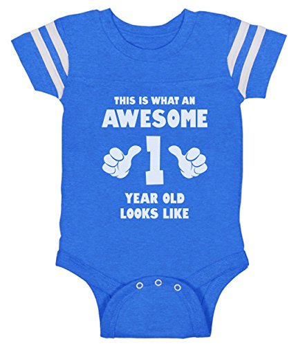 This is What an Awesome One Year Old Looks Like Funny Baby Jersey Bodysuit 12M Blue